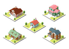 Isometric buildings set. Flat style. Vector illustration Urban and Rural Houses collection. Royalty Free Stock Photo