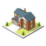 Isometric buildingt Mieszkanie styl Wektorowy ilustracyjny Miastowy i Wiejski dom Zdjęcie Stock