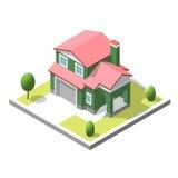 Isometric buildingt Mieszkanie styl Wektorowy Miastowy i Wiejski dom Zdjęcie Stock