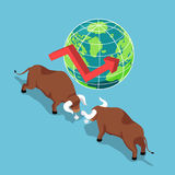 Isometric bulls fighting with world and growth graph. Flat 3d isometric bulls fighting with world and growth graph. Bullish stock market and financial concept Stock Image