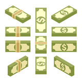 Isometric bundles of paper money. Set of the isometric bundles of paper money. The objects are isolated against the white background and shown from different Stock Images