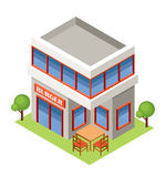 Isometric burger house. Royalty Free Stock Images