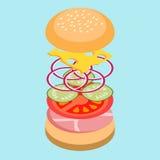 Isometric burger. Isometric illustration of burger ingredients stock illustration