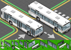 Isometric Bus in Front View Royalty Free Stock Image