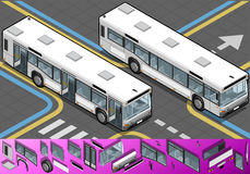 Isometric Bus with Opened Doors Royalty Free Stock Image