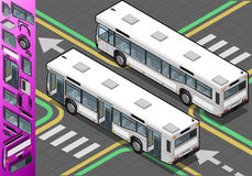 Isometric Bus with Opened Doors Royalty Free Stock Photo