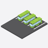 Isometric bus parking. Bus depot. Three green bus in the parking lot. Vector Stock Image