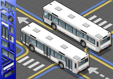 Isometric Bus in Rear View Royalty Free Stock Images