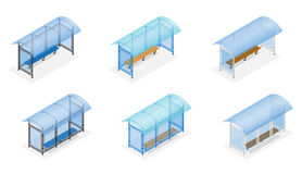 Isometric Bus stop on the white background. Public Transport Stop with Billboard and Place for Message. Flat 3d vector. Illustration Royalty Free Stock Photography