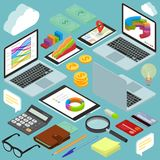 Isometric busines office workspace elements. Isometric busines office flat design  workspace elements set. money coins and financial analytics graphs and chart Royalty Free Stock Photography