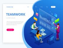 Isometric business analysis and planning, consulting, team work, project management, financial report and strategy. Concept. Unity and teamwork concept. Vector Stock Photo