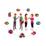 Isometric business analyst vector modern concept with businessman team and 3d charts Royalty Free Stock Image