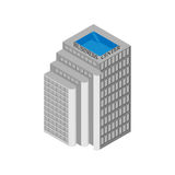 Isometric business center building with elevators and a rooftop pool.  on white background. Vector illustration. Stock Image