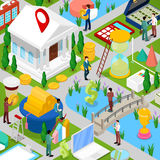 Isometric Business City with Financial Items and Businessman. Small People in Money Cityscape. Vector flat 3d illustration Stock Photography