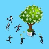 3d businessmen run to the money tree. Royalty Free Stock Photography