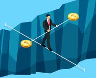 Isometric business concept of financial risks. 3d businessman walking through the abyss on the rope. Vector illustration Stock Image