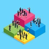 Isometric business concept of teamwork and competition. 3d businessmen standing on the chart, which shows the level of their income. Teams of businessmen with Royalty Free Stock Image