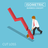 Isometric Business Cut Falling Graph by Axe. Flat 3d Isometric Business Cut Falling Graph by Axe, Stock Market Investment and Cut Loss Concept Royalty Free Stock Photography