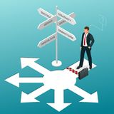 Isometric business directions. Businessman standing at a crossroad and looking directional signs arrows in difficult. Choice concept and startup Royalty Free Stock Photos