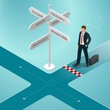 Isometric business directions. Businessman standing at a crossroad and looking directional signs arrows in difficult. Choice concept and startup Stock Images
