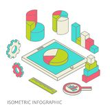 Isometric business finance analytics, chart. Flat 3d isometric business finance analytics, chart graphic report on tablet web infographic concept vector Royalty Free Stock Photo
