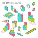 Isometric business finance analytics, chart. Flat 3d isometric business finance analytics, chart graphic report on tablet web infographic concept vector Royalty Free Stock Photography