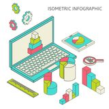Isometric business finance analytics, chart. Flat 3d isometric business finance analytics, chart graphic report on tablet web infographic concept vector Stock Image