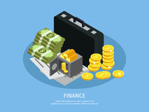 Isometric Business Finance Concept. With briefcase opened safe gold coins contracts agreements and money stacks isolated vector illustration Stock Image