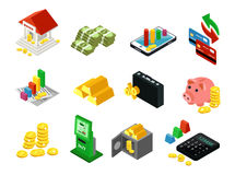 Isometric Business Financial Icons Set. With bank cash gold bars coins payment cards safe contracts money box ATM calculator  vector illustration Royalty Free Stock Images