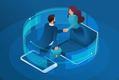 Isometric business, global online collaboration between large companies. Concept for web design.  vector illustration