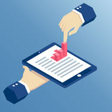 Isometric business hand. Isometric hands holding a tablet and touching a bar graph, businessman using tablet for business task Stock Photography