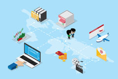 Isometric business hand using laptop to online and connect the world  Royalty Free Stock Photos
