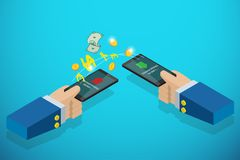Isometric business hands holding smartphone to transferring money, technology and business concept. Vector and illustration Stock Photo