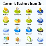 Isometric business icons set. 3d vector flat colorful illustration Stock Photos