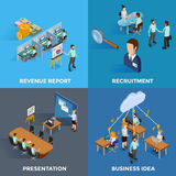 Isometric Business 2x2 Icons Set. With revenue report recruitment presentation and business idea isolated vector illustration Royalty Free Stock Photo