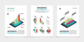 Isometric Business Infographic Posters. With 3d colorful diagrams charts graphs on tablet screens isolated vector illustration royalty free illustration
