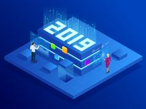 Isometric Business New Year 2019 concept, Digital technologies. Business solution,planning ideas. New innovative ideas. Isometric Business New Year 2019 concept stock illustration