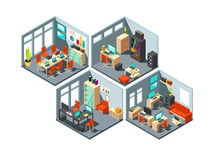 Isometric business offices with different workspaces. 3d vector office plan Stock Images