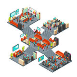 Isometric business offices with staff. 3d businessmen networking in office interior vector illustration