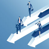Isometric business people and arrows Stock Photography