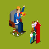 Isometric Business People. Businessman in Crown Shouting in Megaphone on Workers Royalty Free Stock Image