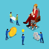 Isometric Business People. Businessman in Crown Watching on Work Process Stock Image