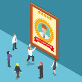 Isometric Business People Celebrate Best Employee Award. Flat 3d Isometric Business People Celebrate Best Employee Award. Employee of the Month Concept Stock Images