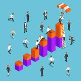 Isometric business people competing to reach the top of the graph. Flat 3d isometric business people competing to reach the top of the graph. Business stock illustration