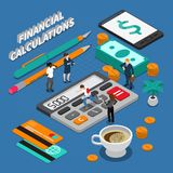 Isometric Business People Concept. Isometric miniature concept with business people tools for financial calculations and money on blue background 3d vector Stock Photography
