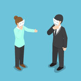 Isometric business people covering their face with smiling mask Stock Photo