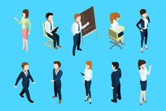 Isometric business people in different action poses. Big boss and office team. Vector illustration set. Isometric team people, staff worker and young manager Stock Images