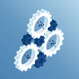 Isometric business people and gears Stock Images
