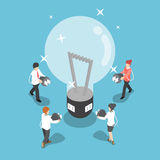 Isometric business people going to recharge idea from big light Royalty Free Stock Image