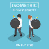 Isometric business people holding heavy bomb on their hands. Risk , crisis, concept, VECTOR, EPS10 Stock Photography